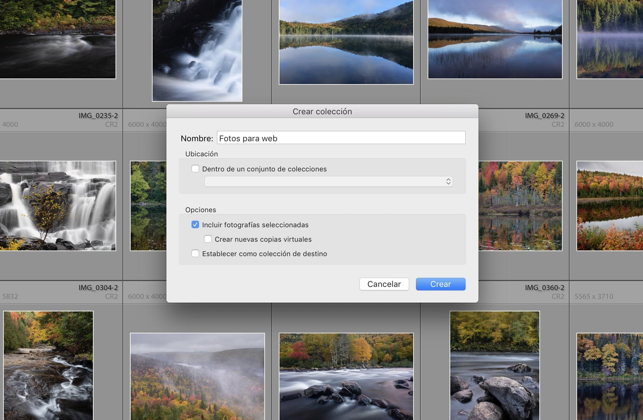 Crear una colección de fotos en Lightroom