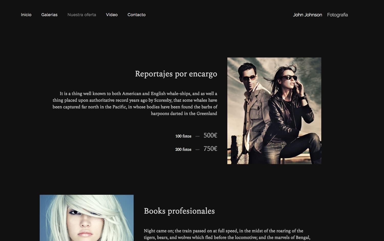 Ejemplo página de servicios en web diseñada en Bluekea