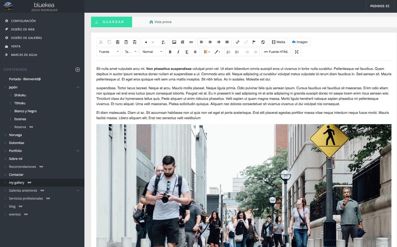 La importancia del texto en una web de fotografía. Introducir el texto en una web de Bluekea