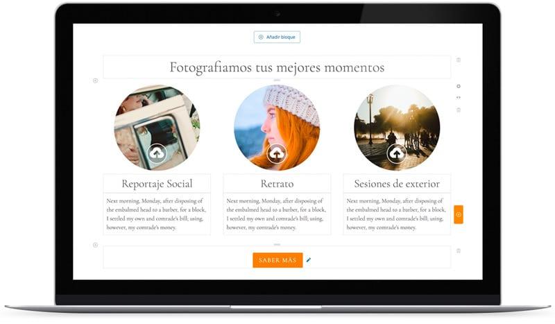 Ejemplo de editor visual de contenidos para web de fotografía.