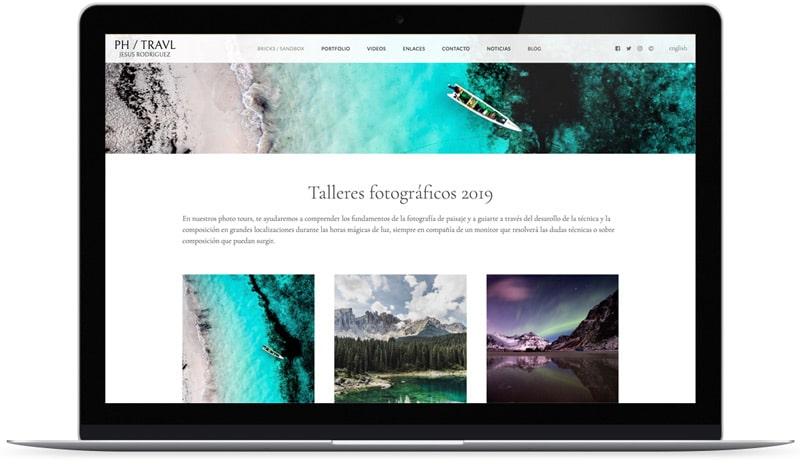 Captura de pantalla de diseño Hatley de página web para fotógrafos en Bluekea.