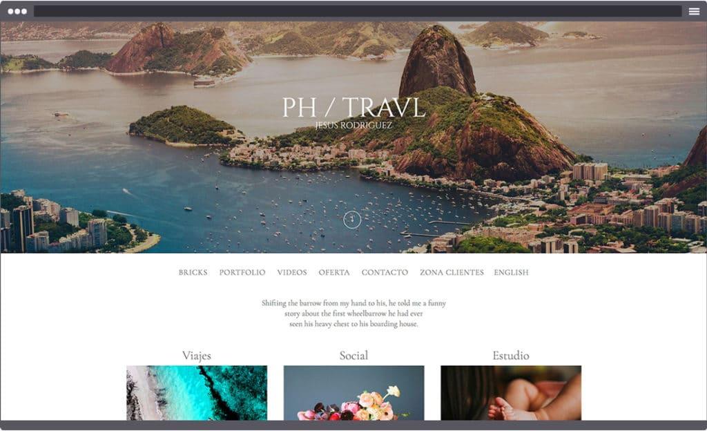 Pantallazo de ejemplo de portada de web de fotografía.