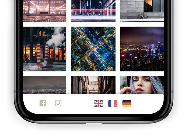 Iconos de banderas para los idiomas en páginas de fotografía