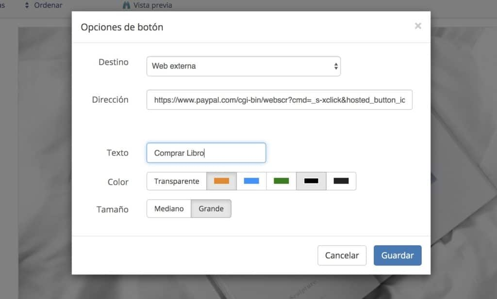 Configuración de un botón de paypal en Bluekea