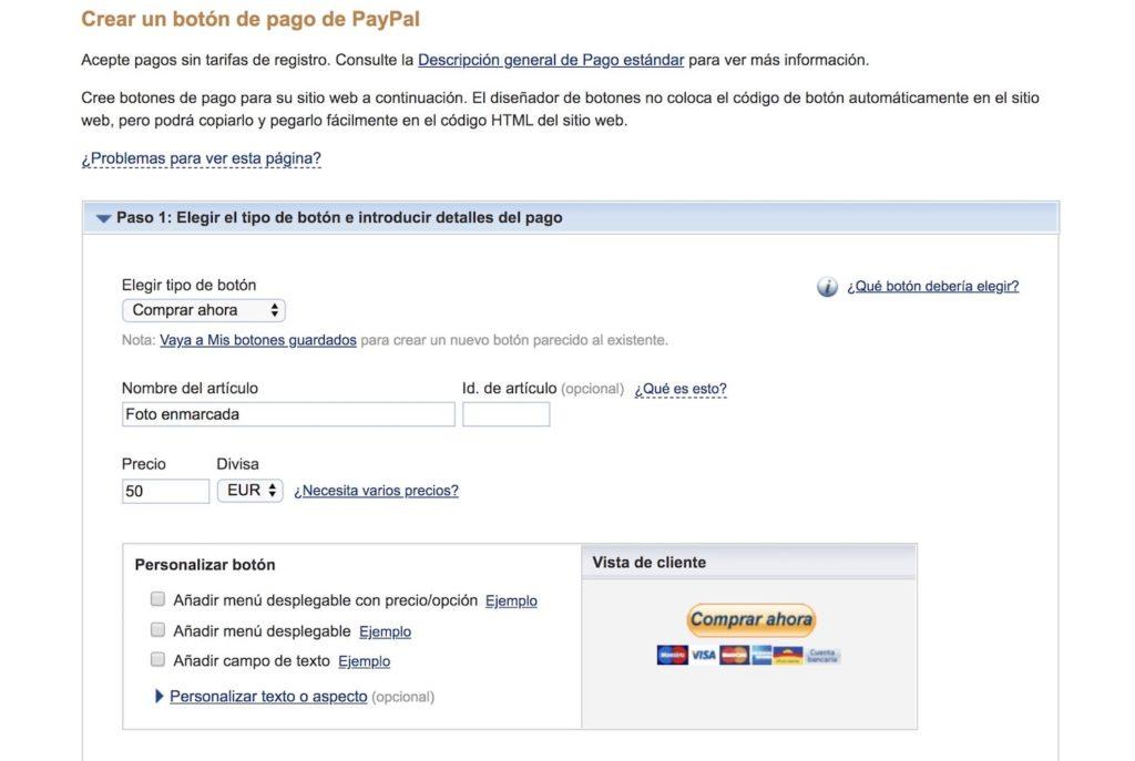 Creando un botón de pago de paypal para insertar en web