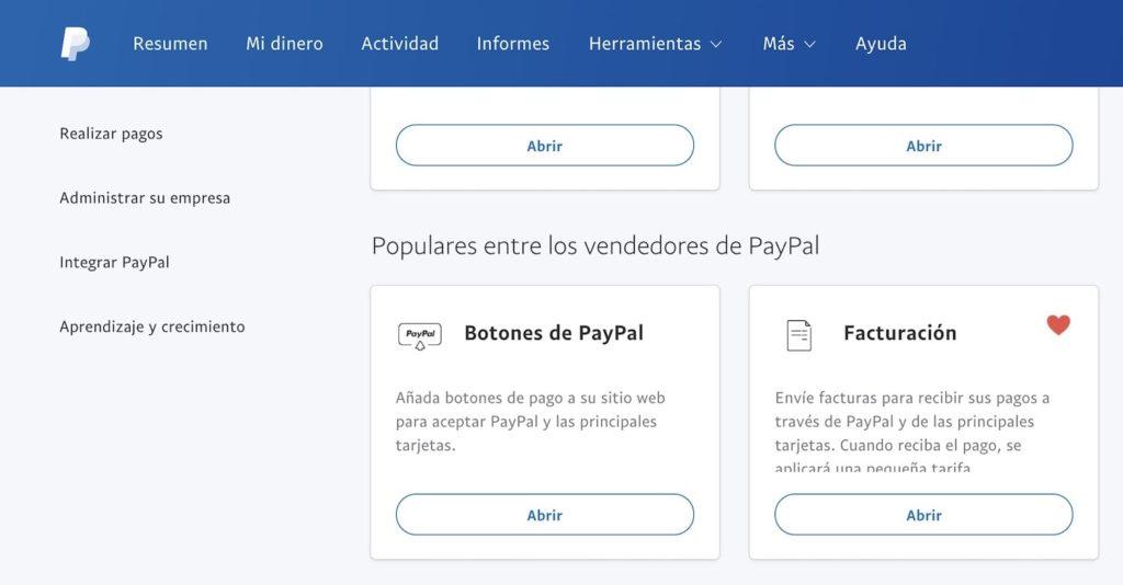 Herramientas de pago en el panel de control de PayPal