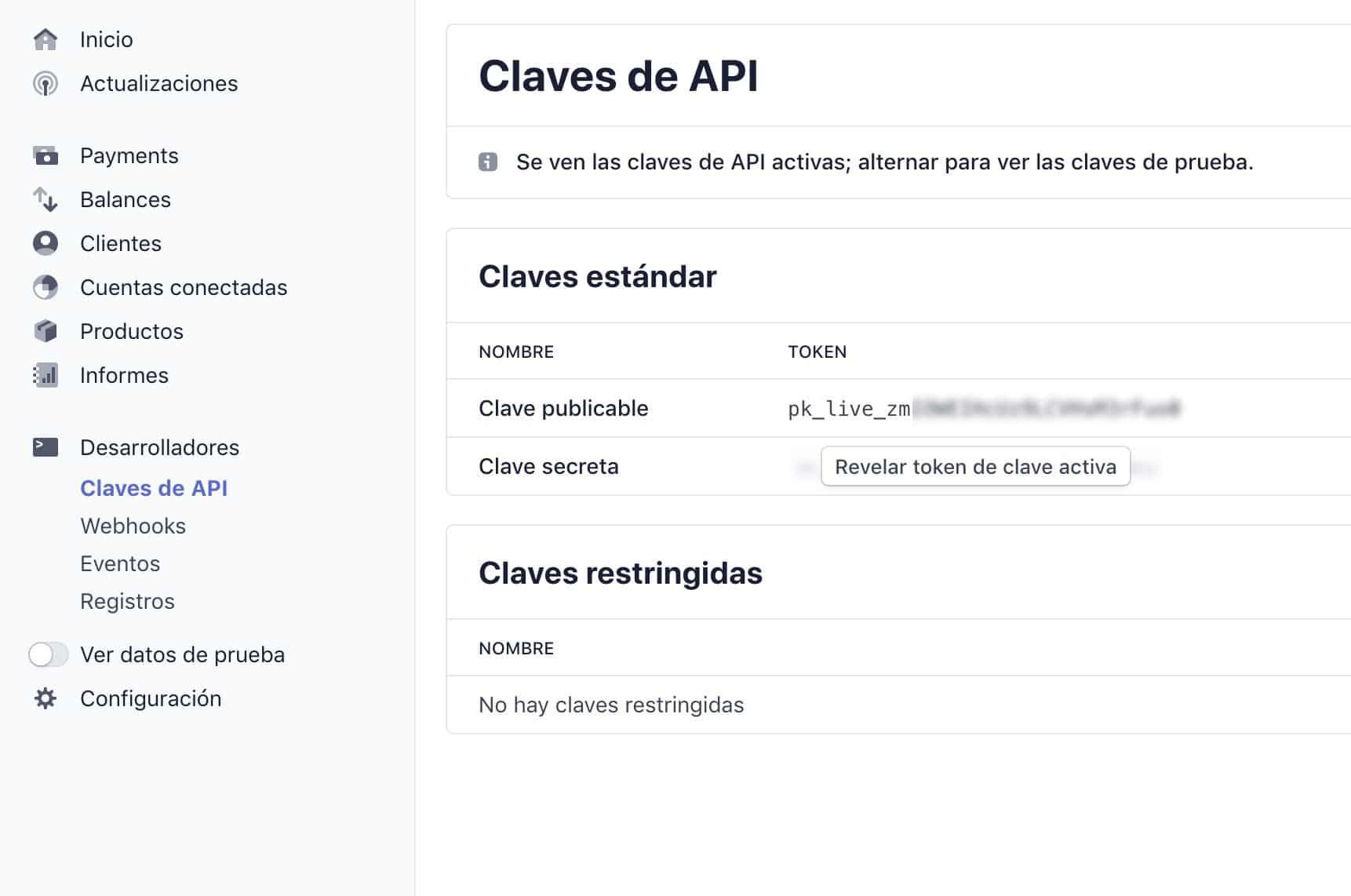 Panel de control de Stripe, apartado Claves de API